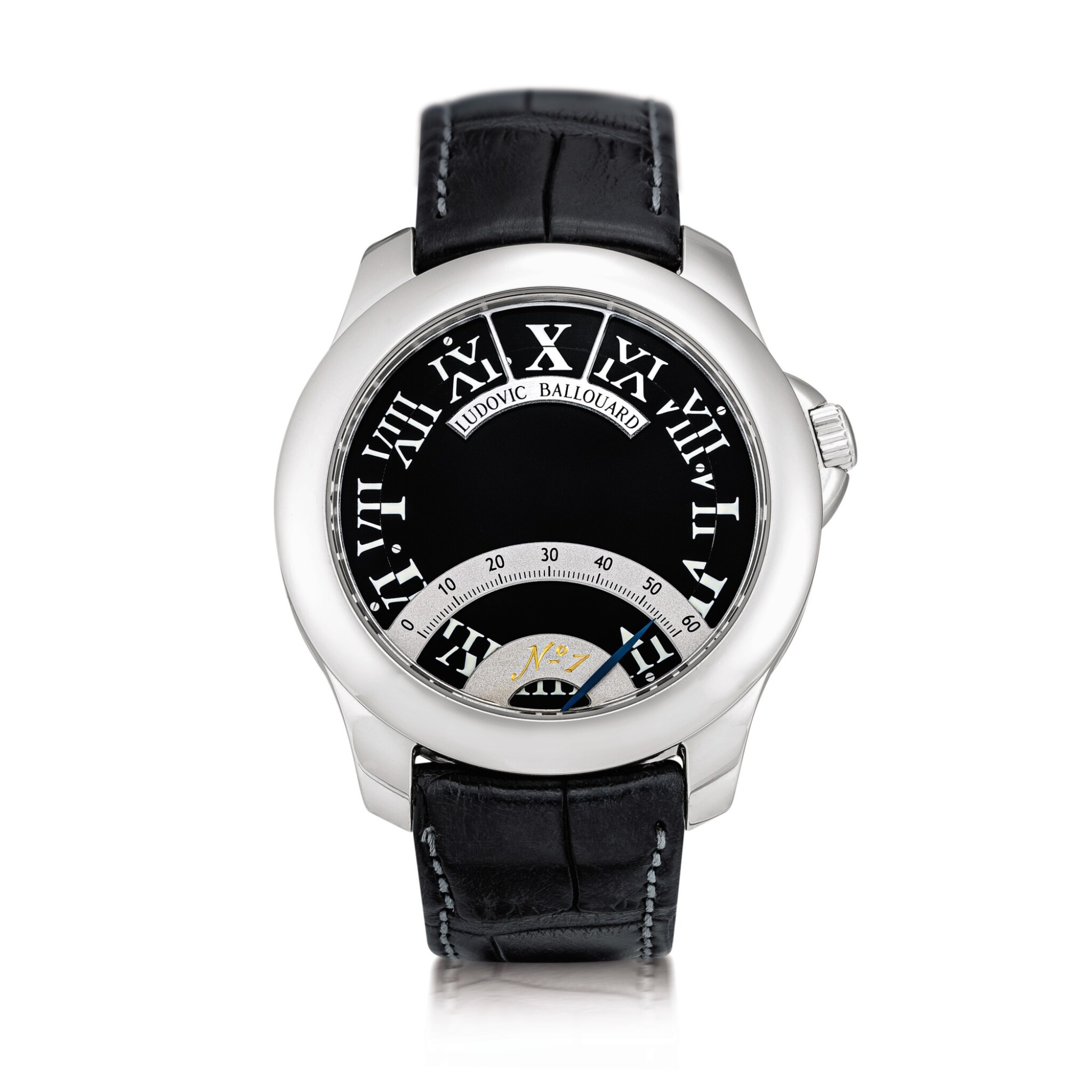 View full screen - View 1 of Lot 2202. Ludovic Ballouard   Half Time, A brand new platinum jumping hour wristwatch with retrograde minutes, Circa 2012   Half Time 全新鉑金跳時腕錶,備逆跳分鐘,約2012年製.