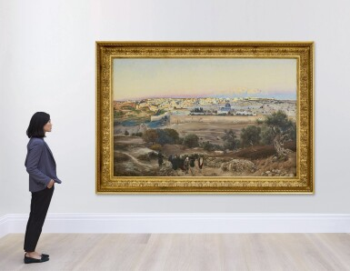 View 4. Thumbnail of Lot 68. GUSTAV BAUERNFEIND  | JERUSALEM, FROM THE MOUNT OF OLIVES AT SUNRISE.