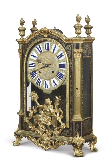 View 2. Thumbnail of Lot 708. A LOUIS XIV GILT BRONZE-MOUNTED BOULLE MARQUETRY MANTEL CLOCK.