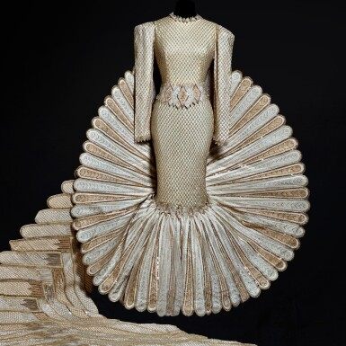 """View 2. Thumbnail of Lot 1. Haute Couture Full Length Dress with Extended Tail, Designed and Worn by Sherihan on the Television Show """"Alf Layla Wa Layla ('Thousand and One Nights')"""" in 1987. Executed in the Atelier by Adnan Akbar.."""