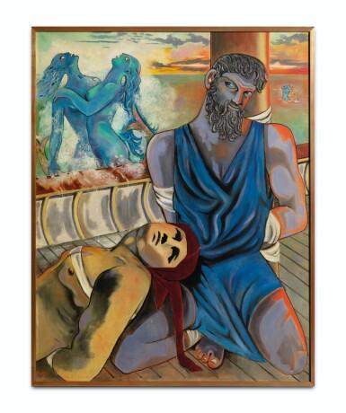 """View 2. Thumbnail of Lot 30. JEAN COCTEAU. Ulysse et les Sirènes. 1951. Huile sur toile, signée """"Jean"""", datée 1951 en bas à gauche. 146 x 114 cm."""