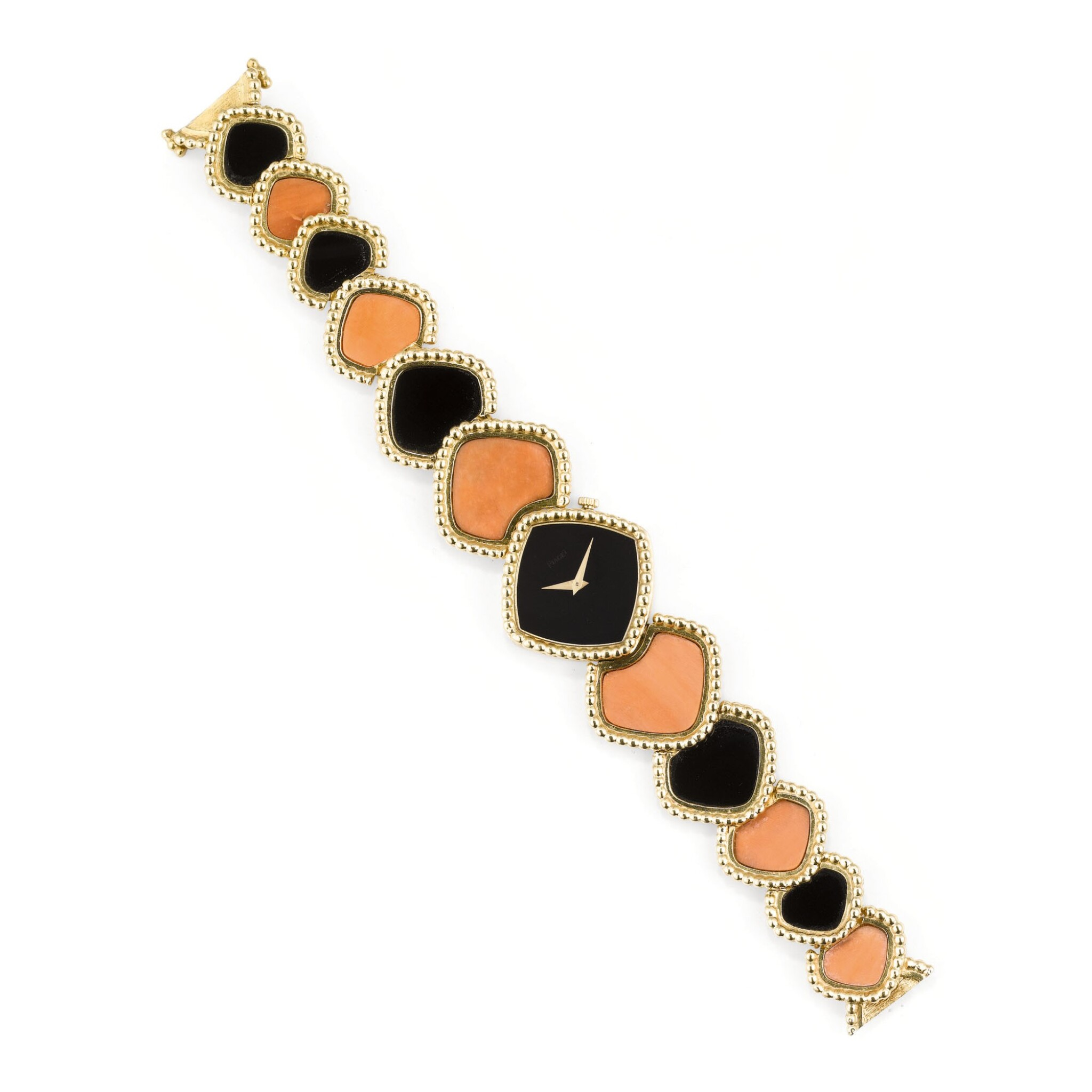View full screen - View 1 of Lot 130. MONTRE-BRACELET DE DAME ONYX ET CORAIL, PIAGET, VERS 1970   LADY'S ONYX AND CORAL WRISTWATCH, PIAGET, 1970S.