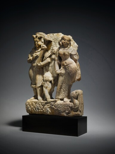 View 2. Thumbnail of Lot 360. A Sandstone Group of Shiva as Bhairava with River Goddess Ganga, Central India, 8th/9th Century.