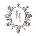 Boucheron | Silver-Topped Gold, Natural Pearl and Diamond Necklace and Pair of Earclips [黃金鍍銀鑲天然珍珠配鑽石項鏈及耳環一對]