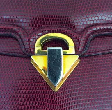 View 11. Thumbnail of Lot 725. GUCCI   BURGUNDY VINTAGE BAG IN LIZARD, c.1960s.