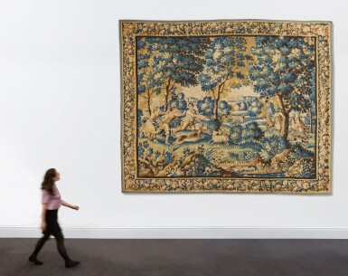 View 4. Thumbnail of Lot 106. A Louis XIV French Hunting Tapestry, Aubusson, late 17th century.