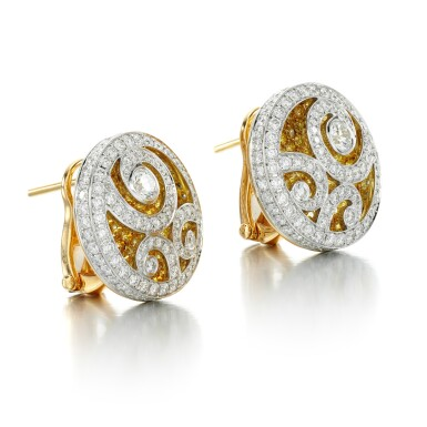View 2. Thumbnail of Lot 53. GRAFF | PAIR OF COLOURED DIAMOND AND DIAMOND EARRINGS.