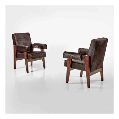 """View 1. Thumbnail of Lot 357. Pair of """"Advocate"""" Armchairs for the High Court, Chandigarh, India."""