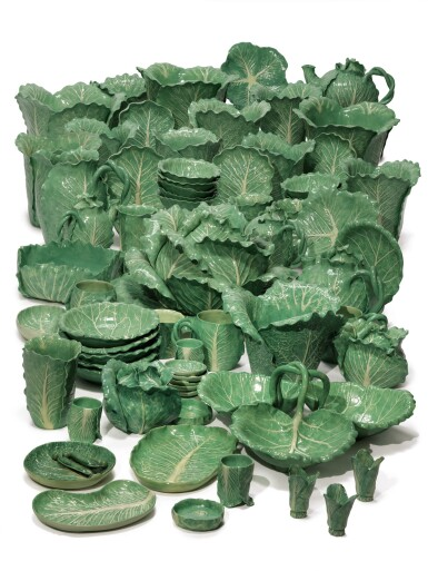 AN EXTENSIVE DODIE THAYER POTTERY LETTUCE WARE PART-SERVICE, MODERN