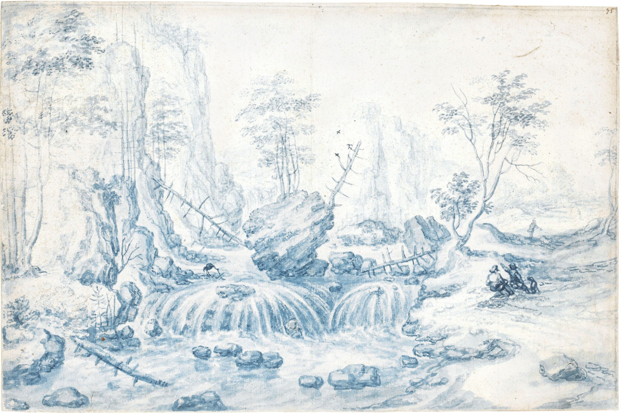 ISAAC MAJOR | A RUGGED MOUNTAIN LANDSCAPE WITH FIGURES BY A WATERFALL
