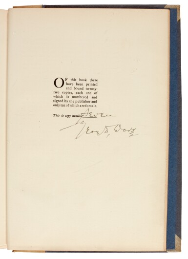 View 3. Thumbnail of Lot 105. LAWRENCE, T.E. | Seven Pillars of Wisdom, 1926, 1st US edition, NO.7 OF 22 COPIES, signed by Doran.