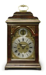 A GEORGE III BRASS-MOUNTED PADOUK WOOD STRIKING BRACKET CLOCK BY NICHOLAS PREVOST, LONDON, THE CASE ATTRIBUTED TO FREDERICK HINTZ, CIRCA 1735
