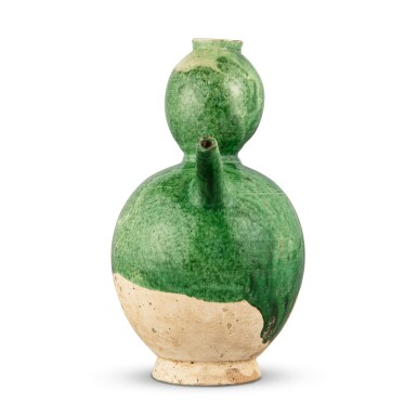 View 2. Thumbnail of Lot 201. A green-glazed pottery 'double-gourd' ewer, Liao dynasty | 遼 綠釉葫蘆形執壺.