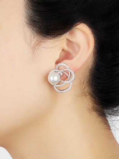 View 4. Thumbnail of Lot 9102. PAIR OF CULTURED PEARL AND DIAMOND EAR CLIPS, CHANEL | 養殖珍珠 配 鑽石 耳環一對, 香奈兒 ( Chanel ).