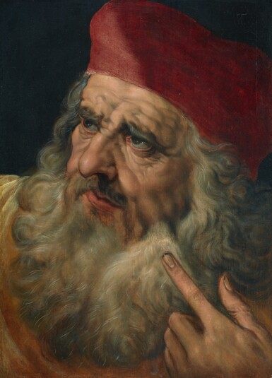 FRANS FLORIS THE ELDER | The head of a bearded man in a red hat