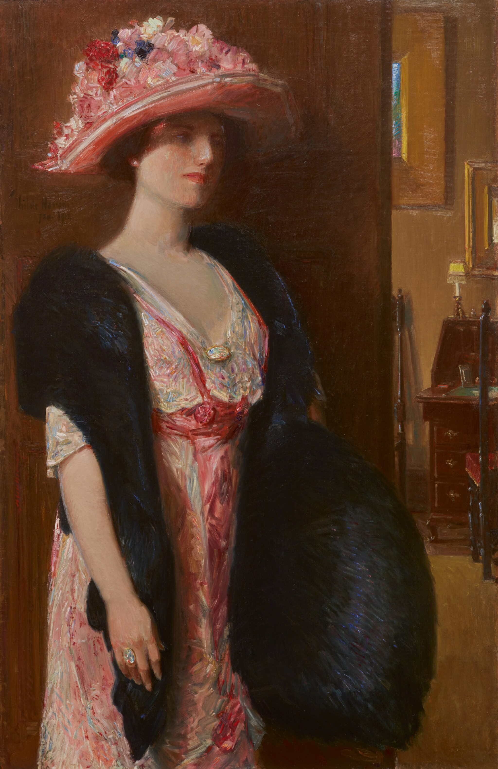 View full screen - View 1 of Lot 38. CHILDE HASSAM | FIRE OPALS (LADY IN FURS: PORTRAIT OF MRS. SEARLE).