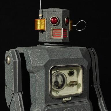 View 7. Thumbnail of Lot 287. A rare TM (Masudaya) battery-operated tin-plate Radicon Robot, Japan, circa 1958.