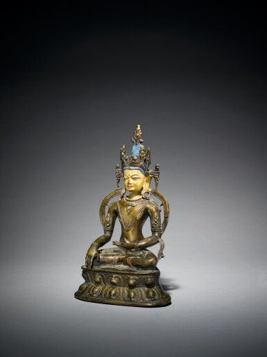 View 2. Thumbnail of Lot 327. A Copper Alloy Figure of Akshobya with Copper Inlay, Tibet, 13th/14th Century.