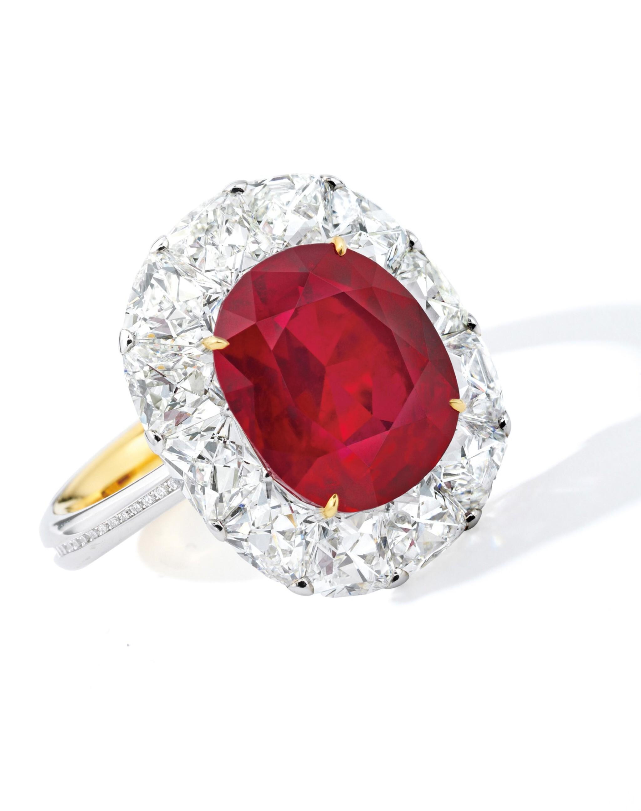 View 1 of Lot 1743. DESIGNED AND MOUNTED BY FORMS | AN EXCEPTIONAL RUBY AND DIAMOND RING | Forms 設計及鑲嵌 | 非常珍罕 6.41卡拉 天然「緬甸鴿血紅」未經加熱紅寶石 配 鑽石 戒指 戒指.
