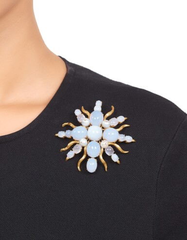View 3. Thumbnail of Lot 314. Tony Duquette | Gold, Cultured Pearl and Chalcedony Pendant-Brooch.