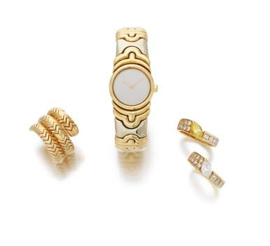 View 2. Thumbnail of Lot 107. 'Parentesi' bracelet-watch and 'Spiga' ring, Bulgari, and two diamond rings (Orologio da polso 'Parentesi' e anello 'Spiga', Bulgari, e due anelli in diamanti).