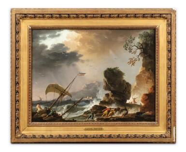 View 3. Thumbnail of Lot 47. Fishermen at Sunrise;  A Storm.