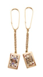 PAIR OF GOLD AND ENAMEL 'KING OF HEARTS' AND 'QUEEN OF HEARTS' CHARMS, TIFFANY & CO., MOUNTED AS KEYCHAINS
