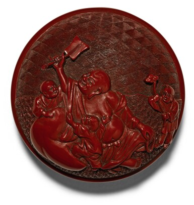 A SMALL CARVED CINNABAR LACQUER SEAL PASTE BOX AND COVER MING DYNASTY, 16TH/17TH CENTURY | 明十六/十七世紀 剔紅布袋和尚圖印盒