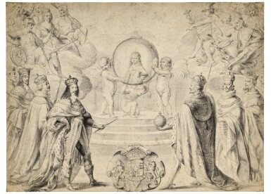 View 1. Thumbnail of Lot 28. Allegorical scene of Monarchs, including Louis XIII of France, celebrating the accession to the Duchy of Savoy of Charles Emmanuel II, Prince of Piedmont, in 1638.