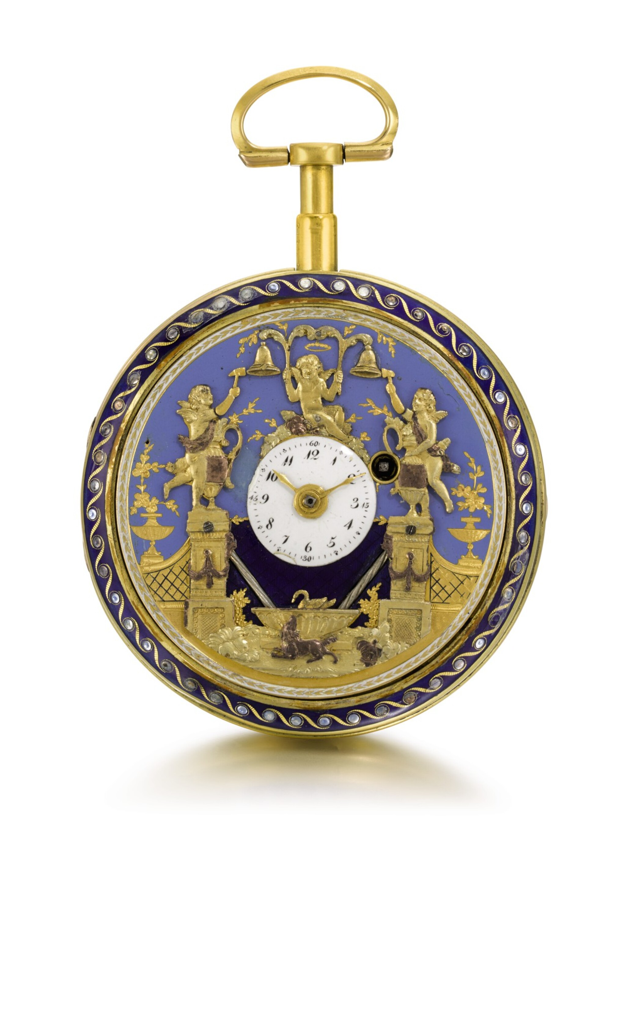 View full screen - View 1 of Lot 26. SWISS | A GOLD AND ENAMEL QUARTER REPEATING WATCH WITH DOUBLE WATERFALL AUTOMATA AND JACQUEMARTS  CIRCA 1800.