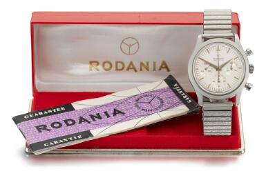 View 3. Thumbnail of Lot 34. RODANIA    GEOMETER, REFERENCE 5621 H STAINLESS STEEL CHRONOGRAPH WRISTWATCH WITH BRACELET,  CIRCA 1965 .