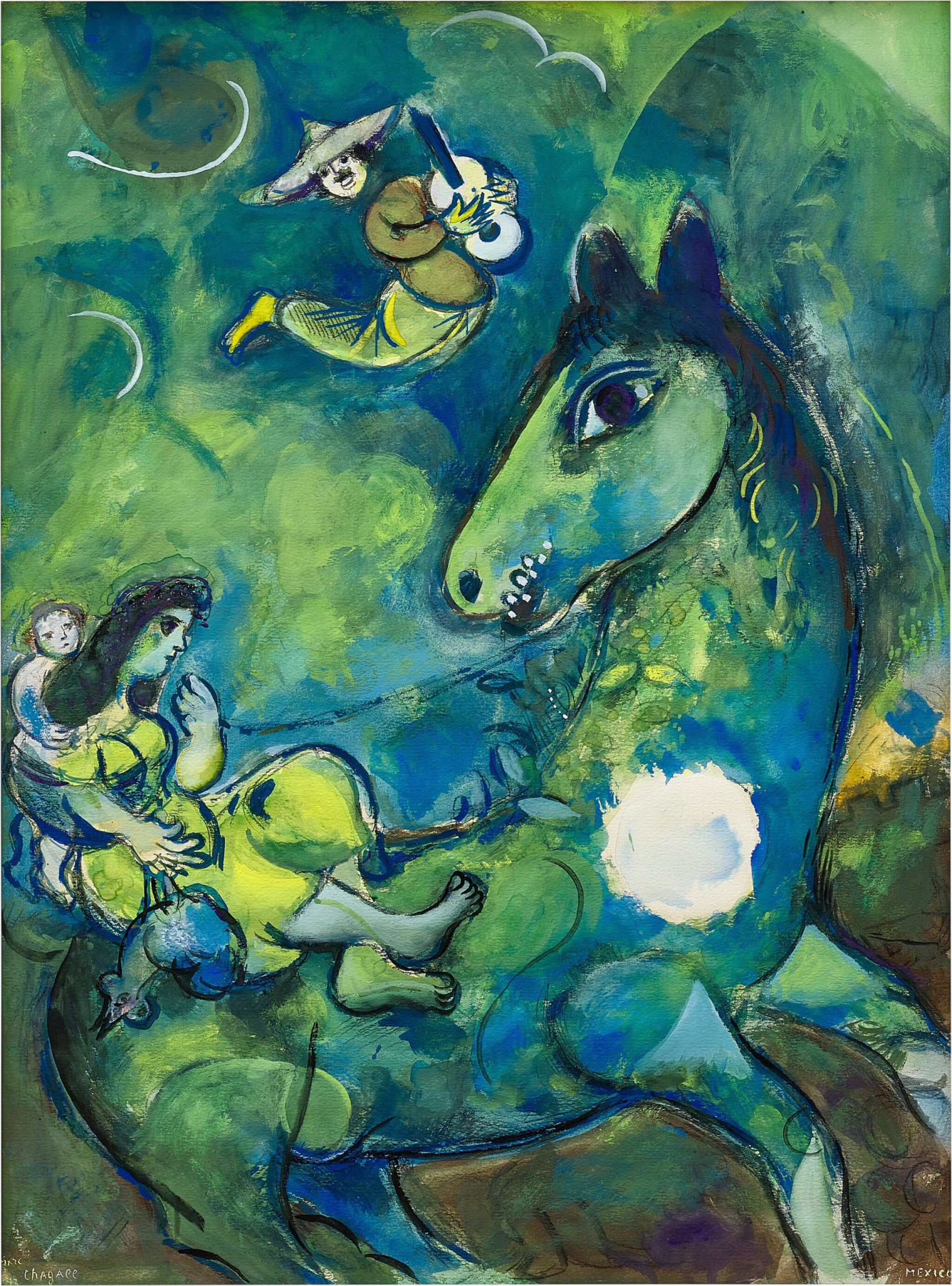 View full screen - View 1 of Lot 1028. Marc Chagall 馬克・夏加爾   Le cheval à la lune 駿馬奔月.