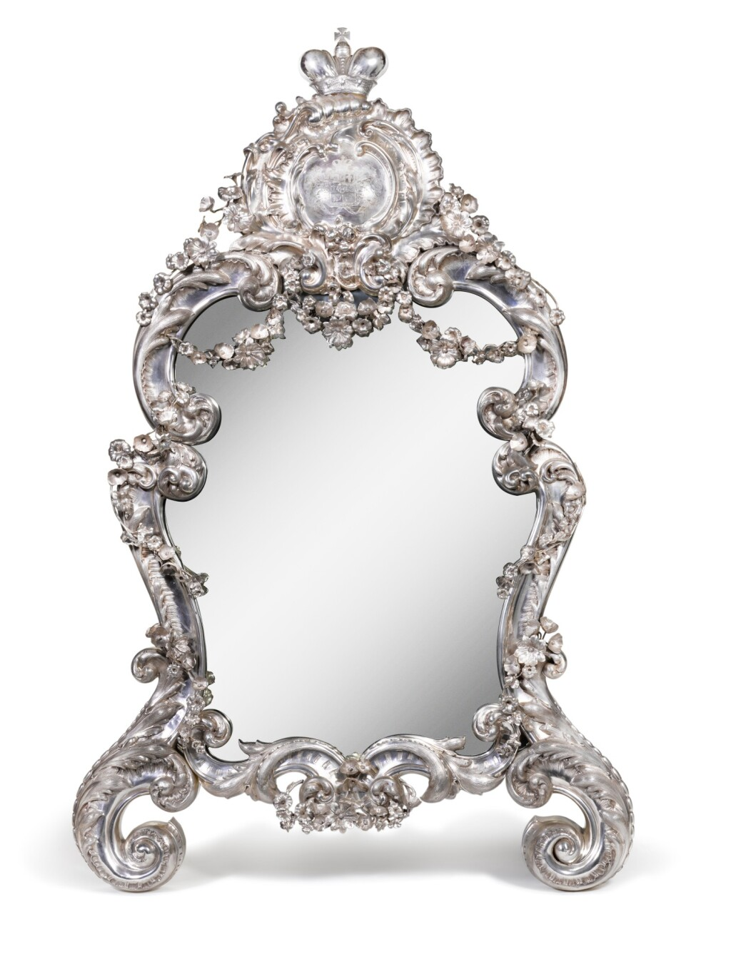 A LARGE AND RARE ROCOCO SILVER MIRROR, JEAN-BAPTISTE VAILLANT, ST PETERSBURG, 1846