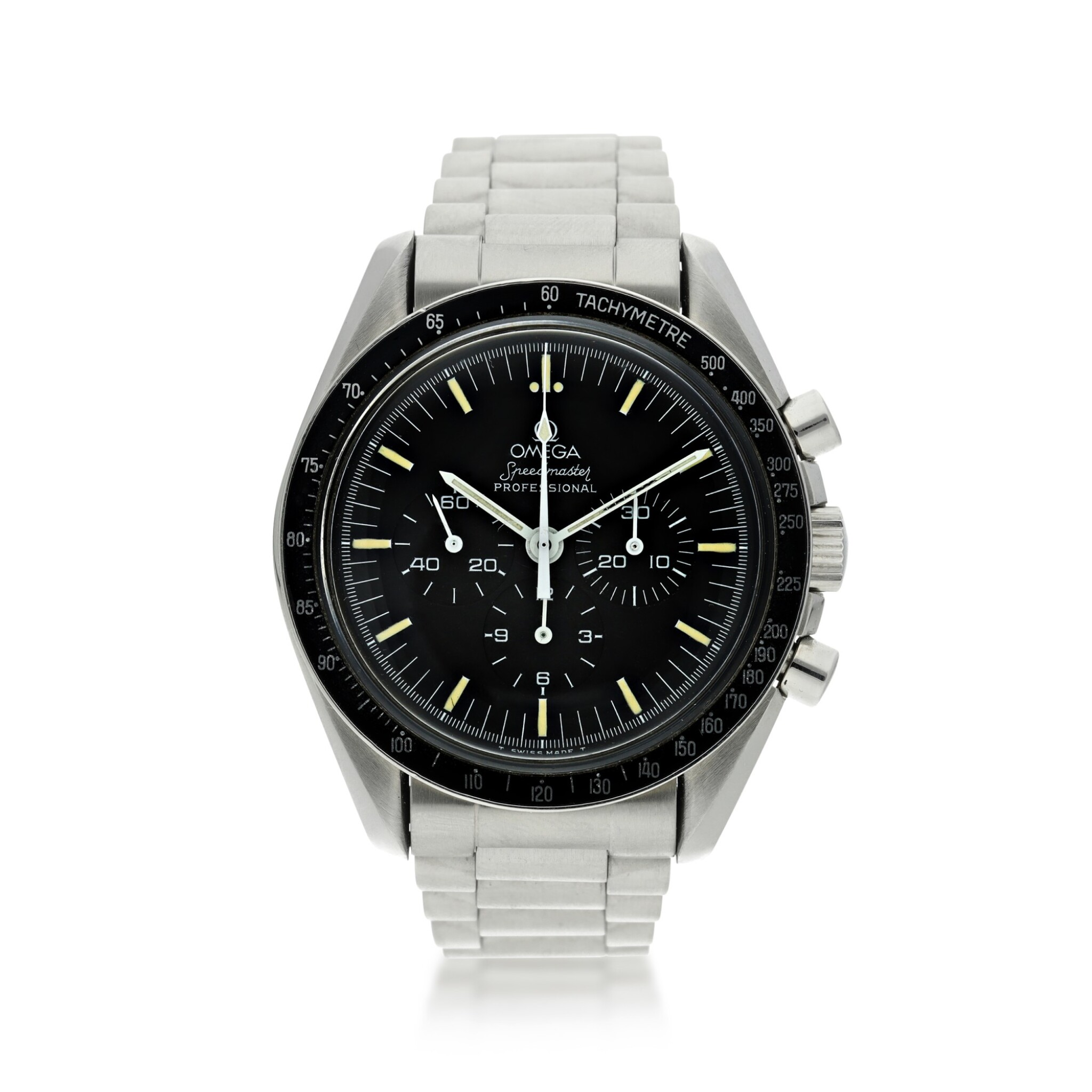 View full screen - View 1 of Lot 11. OMEGA | SPEEDMASTER 20TH ANNIVERSARY OF APOLLO XI  A LIMITED EDITION STAINLESS STEEL CHRONOGRAPH WRISTWATCH WITH BRACELET, MADE FOR THE USA MARKET, CIRCA 1989.