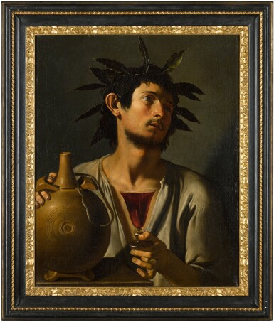 View 3. Thumbnail of Lot 11. PSEUDO-TOMMASO SALINI     PORTRAIT OF A YOUNG MAN AS BACCHUS .