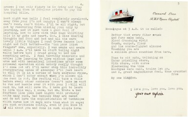 View 3. Thumbnail of Lot 8. Sylvia Plath | Typed letter signed, to Ted Hughes, with her poem 'Monologue at 3am', 4 October 1956.