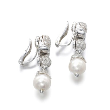 View 2. Thumbnail of Lot 1150. Pair of cultured pearls and diamond ear clips.