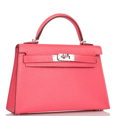 View 2. Thumbnail of Lot 29. HERMÈS   ROSE LIPSTICK SELLIER KELLY 20CM OF CHEVRE LEATHER WITH PALLADIUM HARDWARE.