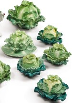 FOUR PAIRS (JACOB PETIT FACTORY) CABBAGE-FORM PORCELAIN BOXES AND COVERS, CIRCA 1830-1850