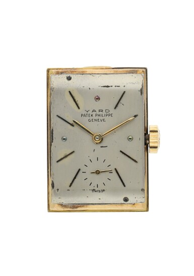 View 7. Thumbnail of Lot 137. PATEK PHILIPPE  | REFERENCE 1450 'TOP HAT' RETAILED BY RAYMOND YARD: A YELLOW GOLD RECTANGULAR WRISTWATCH, CIRCA 1950.