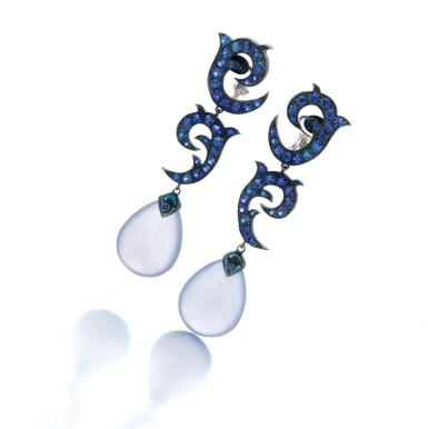 View 1. Thumbnail of Lot 138. Pair of sapphire and chalcedony earrings (Paio di orecchini in zaffiri e calcedonio).