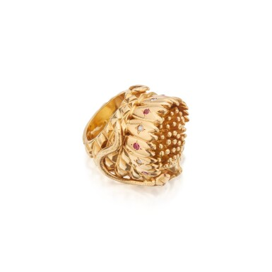 View 2. Thumbnail of Lot 489. Gold and Gem-Set Ring.