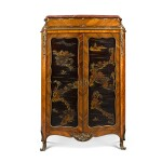 A LOUIS XV STYLE GILT-BRONZE MOUNTED BLACK LACQUER, KINGWOOD, TULIPWOOD PARQUETRY ARMOIRE, LATE 19TH CENTURY
