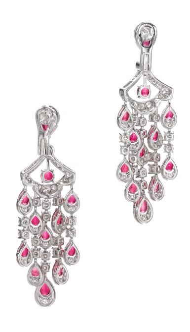 View 3. Thumbnail of Lot 651. Graff | Pair of ruby and diamond pendent earrings | 格拉夫 | 紅寶石配鑽石耳墜一對 .