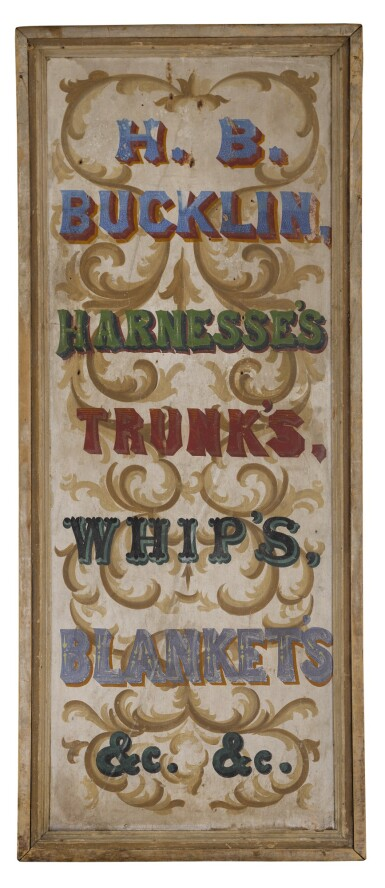 View 1. Thumbnail of Lot 1483. AMERICAN POLYCHROME PAINT-DECORATED WOODEN EQUINE TACK AND SUPPLIES TRADE SIGN, 19TH CENTURY.