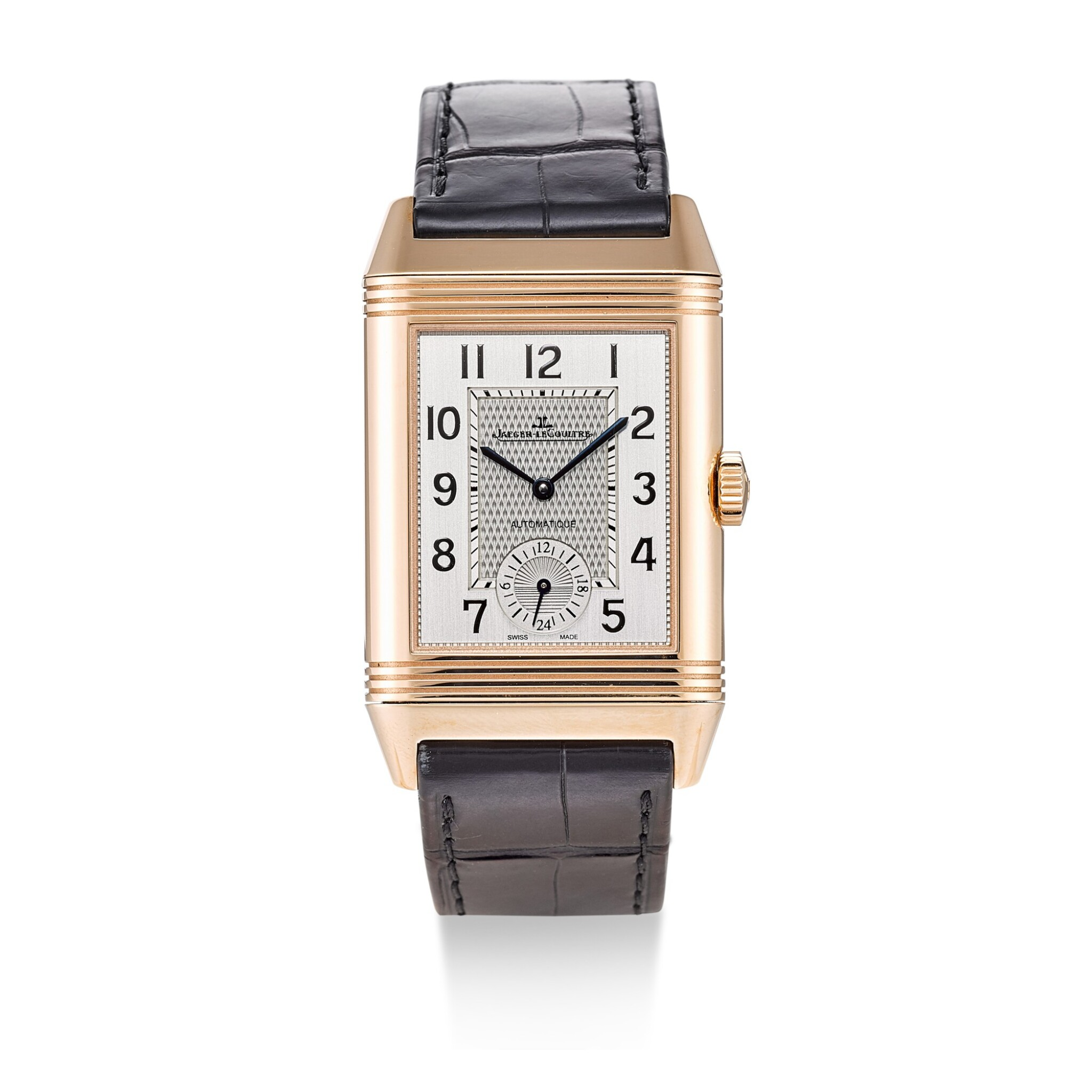 View full screen - View 1 of Lot 504. JAEGER-LECOULTRE | REVERSO, REFERENCE 215.2.S9 A PINK GOLD DUAL TIME ZONE REVERSIBLE WRISTWATCH, CIRCA 2017.