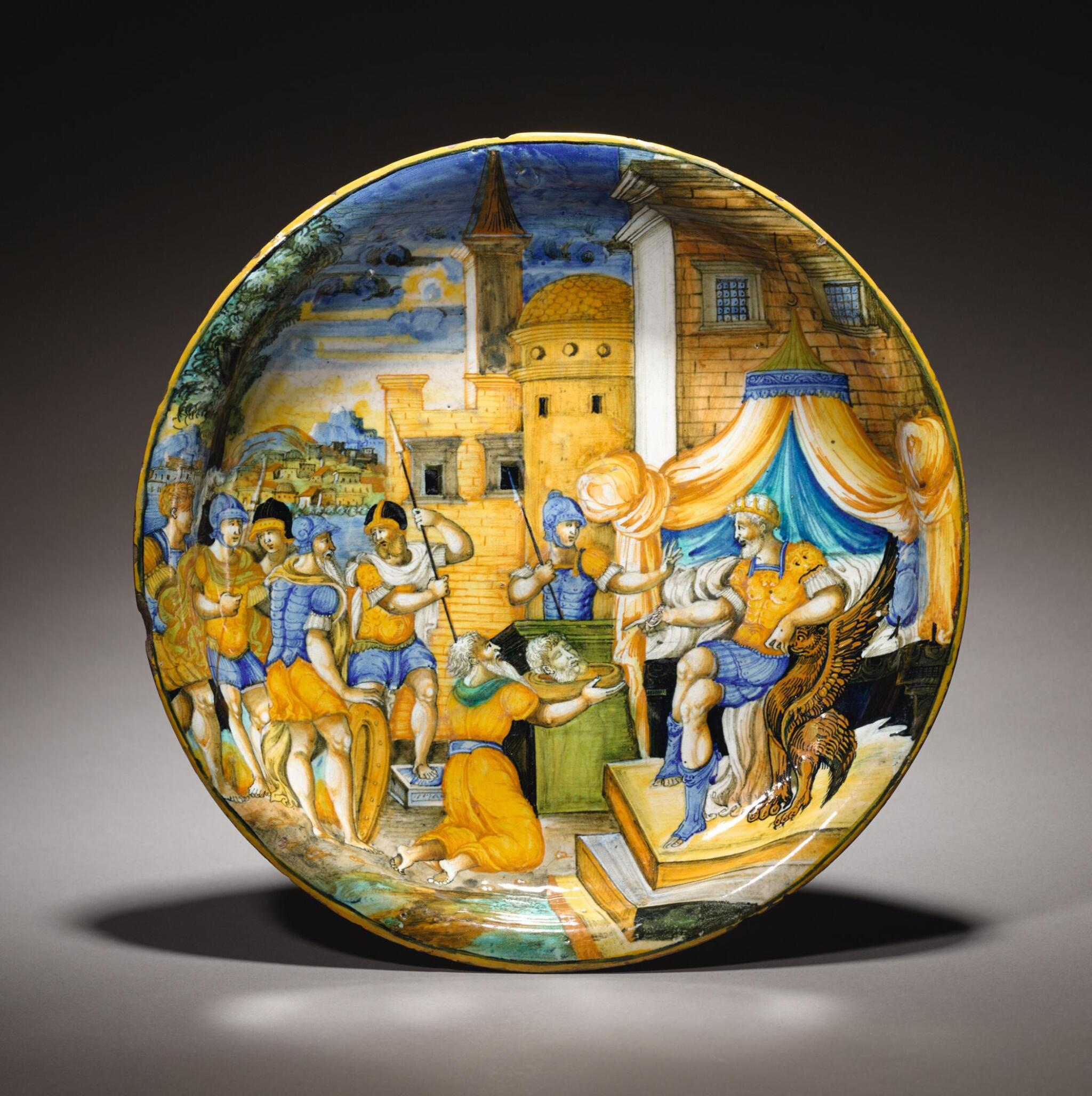 View full screen - View 1 of Lot 46. ATTRIBUTED TO SFORZA DI MARCANTONIO (ACTIVE CIRCA 1535-1581), ITALIAN, PESARO, DATED 1548 | ISTORIATO SHALLOW BOWL WITH THE PRESENTATION OF THE HEAD OF POMPEY.