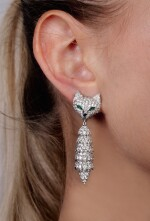 Pair of diamond, ruby and emerald pendent earrings, 'Foxes', Michele della Valle
