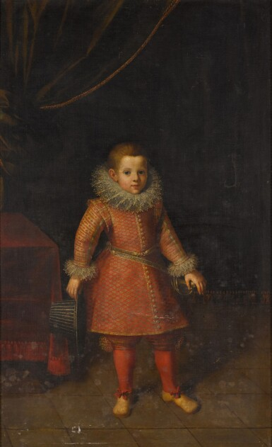 View 1. Thumbnail of Lot 109. Portrait of a boy, said to be Juan Luis de la Cerda, 5th Duke of Medinaceli (1544-94), full-length, holding a hat in his right hand.
