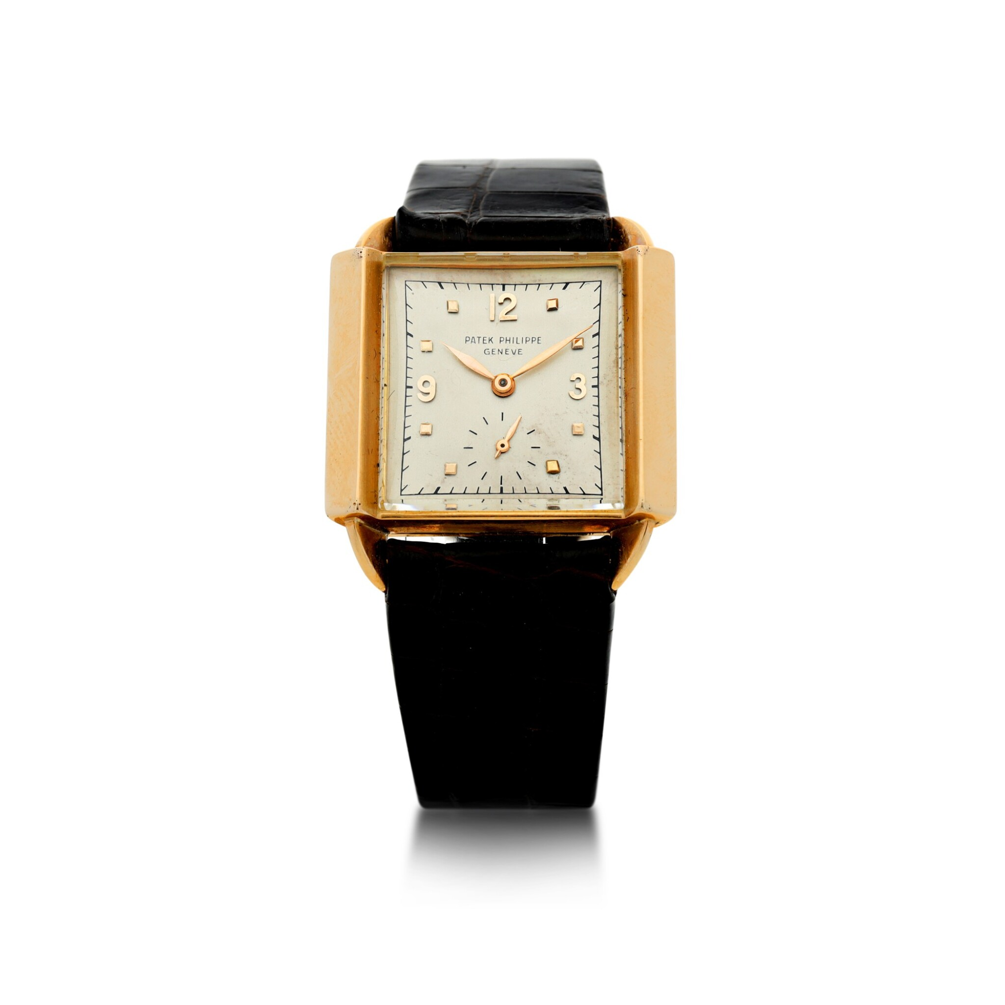 View full screen - View 1 of Lot 141. REFERENCE 2425 'SKATER' A PINK GOLD SQUARE WRISTWATCH, MADE IN 1947.